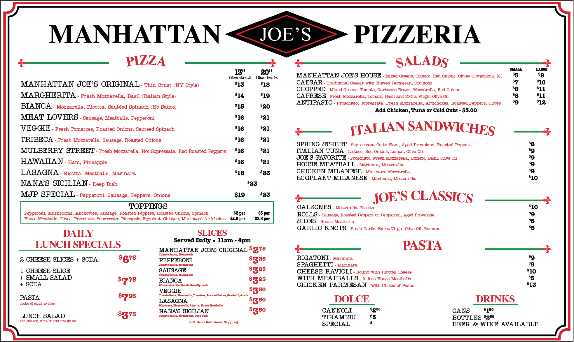 manhattan joe menu